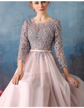 a10ed88cc6a9 ... Jewel Lace Appliqued Pink Tulle Formal Dress with 3/4 Length Sleeves  PM1303