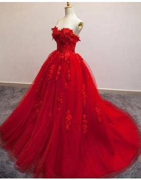 Sweetheart Red Tulle Ball Gown Evening Dress with Handmade Flowers PM1306