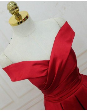 Off the Shoulder Pleated Satin Red Simple Long Prom Dress PM1307
