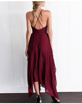 V-neck Burgundy Chiffon Simple Prom Dress with Side Slit PM1308