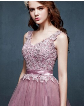 V-neck Lace Bodice Tulle Long Prom Dress with Handmade Flowers PM1311