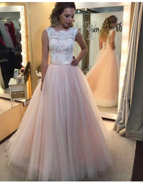 Jewel Lace Appliqued Bodice Pink Tulle Long Prom Dress PM1312