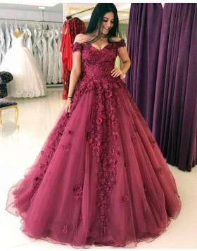 Off the Shoulder Lace Appliqued Mulberry Ball Gown with Handmade Flowers PM1313