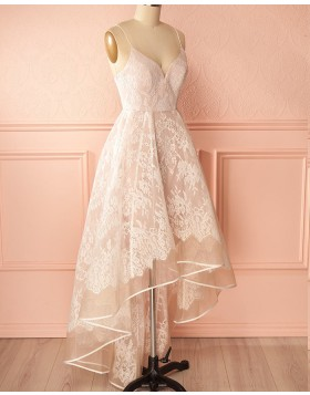 High Low Champagne Spaghetti Straps Lace Prom Dress PM1314