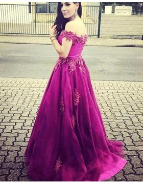 Off the Shoulder Beading Mulberry Satin Prom Dress with Appliques PM1316
