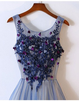 Scoop Appliqued Blue Tulle Long Prom Dress with Handmade Flowers PM1317
