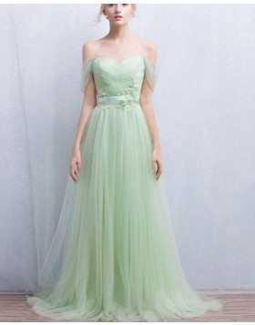 Off the Shoulder Appliqued Pleated Sage Tulle Prom Dress PM1319