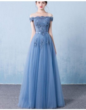 Off the Shoulder Blue Appliqued Tulle Long Prom Dress PM1320