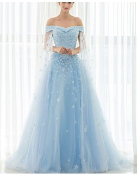 Gorgeous Light Blue Tulle Appliqued Off the Shoulder Ball Gown Evening Dress PM1331