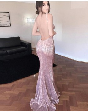 V-neck Gold Sequined Mermaid Style Evening Dress with Open Back PM1332