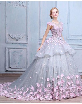 Elegant Jewel Sheer Grey Tulle and Lace Ball Gown Quinceanera Dress with Handmade Flowers PM1333
