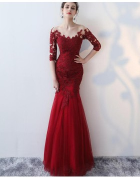 Off the Shoulder Burgundy Appliqued Mermaid Prom Dress with Half Length Sleeves PM1336