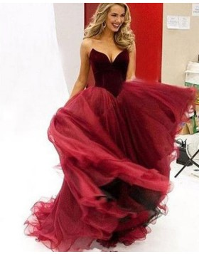 Simple Sweetheart Red Tulle Long Ball Gown Prom Dress PM1337
