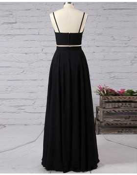 Spaghetti Straps Black Two Piece Satin Prom Dress with Side Slit PM1338