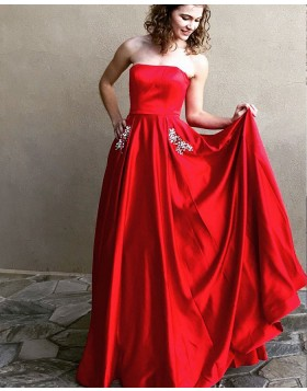 Strapless Red Satin Simple Long Prom Dress with Beading Pockets PM1340
