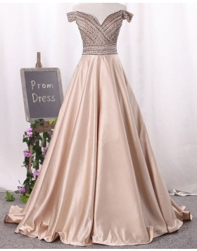 Off the Shoulder Beading Bodice Satin Long Prom Dress PM1341