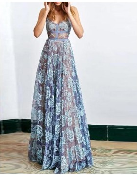 Stunning Spaghetti Straps Blue Lace Sheath Long Prom Dress PM1342