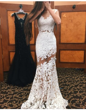 Sheer Neck White Lace Mermaid Style Long Prom Dress PM1343