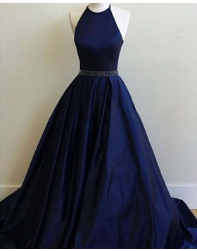 Halter Navy Blue Satin Long Prom Dress with Beading Belt PM1344