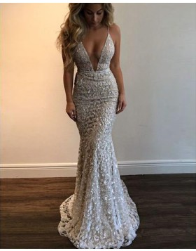 Spaghetti Straps Lace Beading Mermaid Style Prom Dress PM1345