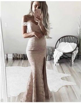 Off the Shoulder Pink Lace Mermaid Long Prom Dress with Side Slit PM1347