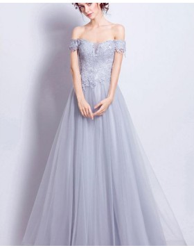 Off the Shoulder Dusty Blue Lace Appliqued Bodice Long Prom Dress PM1348