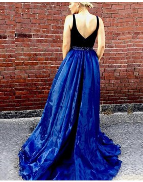 Deep V-neck Blue Tulle Beading Prom Dress with Side Slit PM1349