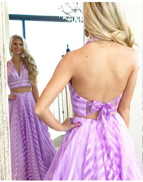 Two Piece Halter Strips Blush & White Long Prom Dress PM1350