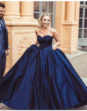 Simple Sweetheart Navy Blue Satin Ball Gown Evening Dress PM1351
