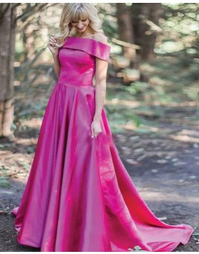 Off the Shoulder Satin Red Simple Long Prom Dress PM1353