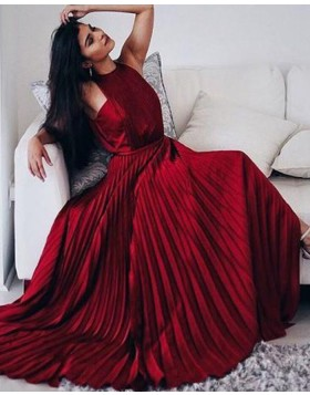 Elegant Halter Rose Red Satin Pleated Long Prom Dress PM1354
