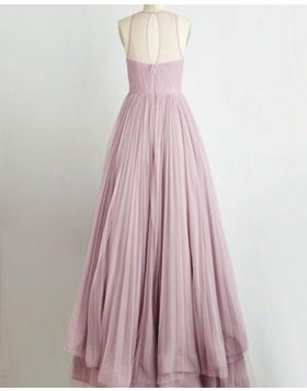 Sheer Neck Light Purple Layered Tulle Long Prom Dress PM1355