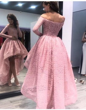 Off the Shoulder High Low Pink Lace Prom Dress with Long Sleeves PM1356
