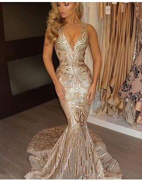 Deep V-neck Gold Sequined Mermaid Style Evening Dress PM1357