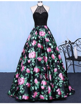 Halter Beading Bodice Floral Print Long Prom Dress PM1358