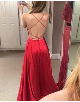 Spaghetti Straps Wine Red Satin Long Prom Dress with Side Slit PM1359
