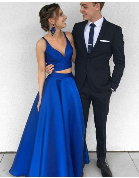 Simple Deep V-neck Royal Blue Satin Two Piece Prom Dress PM1360