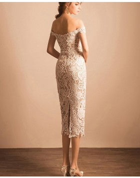 Off the Shoulder Ivory Lace Ankle Length Sheath Graduation Dress PM1361