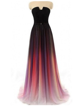 Elegant Long Cutout Ombre Pleated Chiffon Wedding Party Dress PM1362