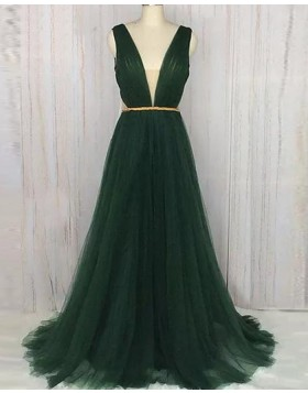 Deep V-neck Ruched Dark Green Tulle Long Formal Dress PM1364