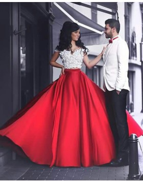 Two Piece White and Red Off the Shoulder Prom Dress with Handmade Flowers PM1366
