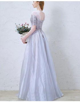 Sheer Neck Ruched Tulle Dusty Blue Formal Dress with Half Length Sleeves PM1367