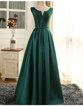 Scoop Cutout Satin Green Long Prom Dress with Lace Up PM1368