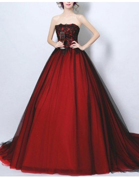 Strapless Lace Bodice Burgundy Ball Gown Evening Dress PM1372
