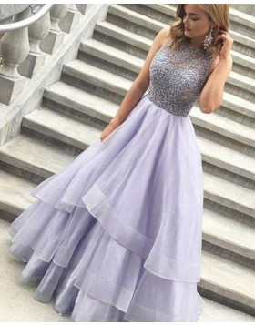High Neck Lace Bodice Lavender Long Prom Dress with Layered Skirt PM1373