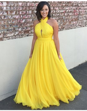 Simple Halter Pleated Yellow Chiffon Long Prom Dress PM1374