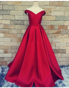 Off the Shoulder Burgundy Satin Simple Long Prom Dress PM1375