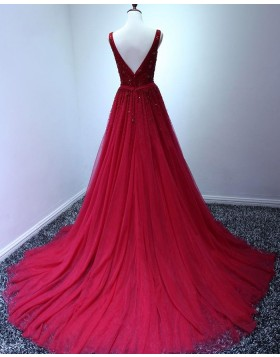 Elegant V-neck Burgundy Beading Tulle Long Prom Dress PM1378
