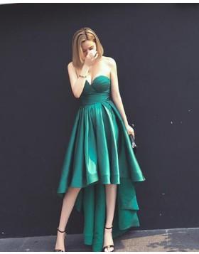 Elegant Sweetheart High Low Green Satin Prom Dress PM1379