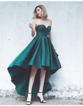 Elegant Sweetheart High Low Green Satin Prom Dress PM1379